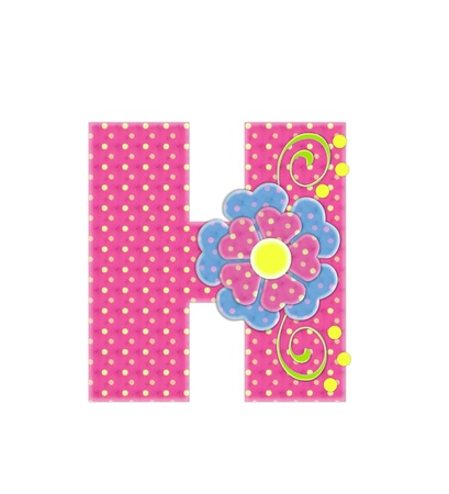 The letter H, in the alphabet set Bonita, is pink with yellow polka dots.  Coordinating, two color, flowers decorate each letter.