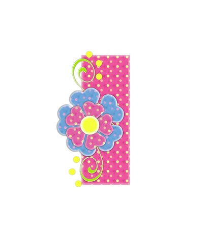 The letter I, in the alphabet set Bonita, is pink with yellow polka dots.  Coordinating, two color, flowers decorate each letter. photo