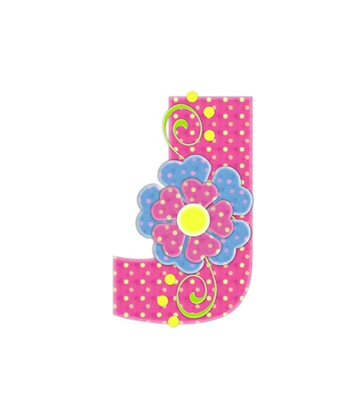 english letters: The letter J, in the alphabet set Bonita, is pink with yellow polka dots.  Coordinating, two color, flowers decorate each letter.