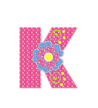 The letter K, in the alphabet set Bonita, is pink with yellow polka dots.  Coordinating, two color, flowers decorate each letter.