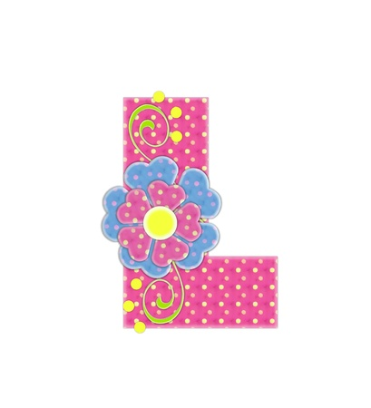 The letter L, in the alphabet set Bonita, is pink with yellow polka dots.  Coordinating, two color, flowers decorate each letter. Stock Photo