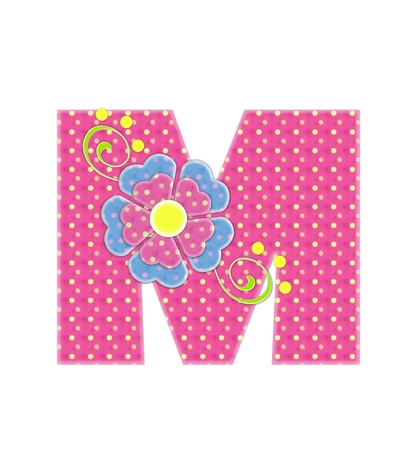 english letters: The letter M, in the alphabet set Bonita, is pink with yellow polka dots.  Coordinating, two color, flowers decorate each letter.