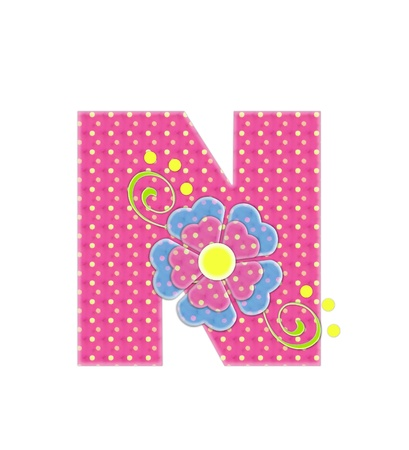 coordinating: The letter N, in the alphabet set Bonita, is pink with yellow polka dots.  Coordinating, two color, flowers decorate each letter. Stock Photo