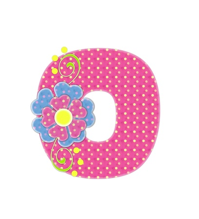 The letter O, in the alphabet set Bonita, is pink with yellow polka dots.  Coordinating, two color, flowers decorate each letter.
