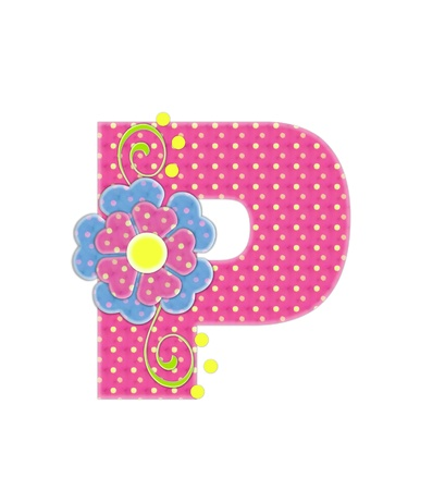 The letter P, in the alphabet set Bonita, is pink with yellow polka dots.  Coordinating, two color, flowers decorate each letter. photo