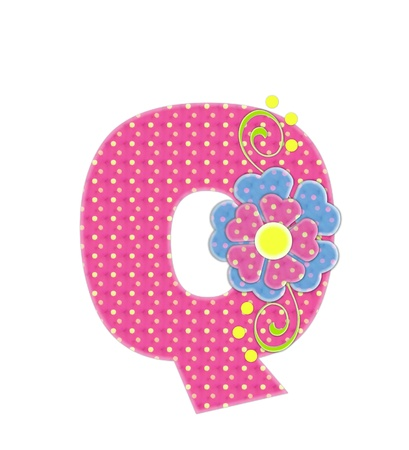 The letter Q, in the alphabet set Bonita, is pink with yellow polka dots.  Coordinating, two color, flowers decorate each letter. Stock Photo