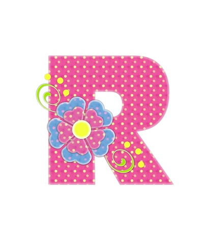 english letters: The letter R, in the alphabet set Bonita, is pink with yellow polka dots.  Coordinating, two color, flowers decorate each letter.