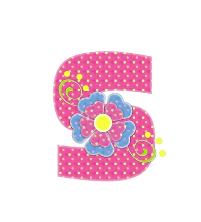 The letter S, in the alphabet set Bonita, is pink with yellow polka dots.  Coordinating, two color, flowers decorate each letter. Stock Photo