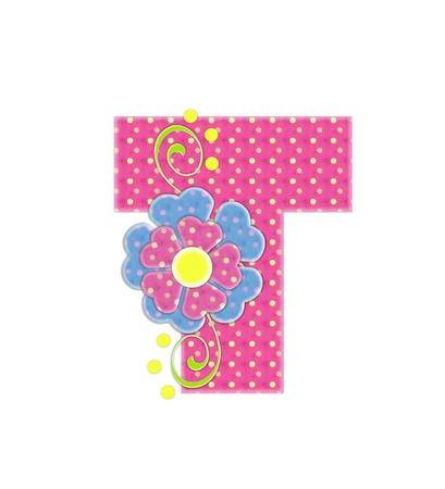 english letters: The letter T, in the alphabet set Bonita, is pink with yellow polka dots.  Coordinating, two color, flowers decorate each letter.