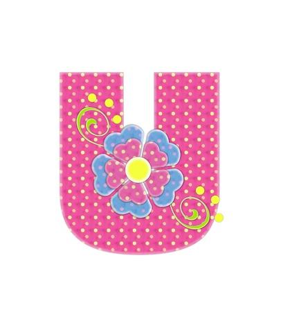 english letters: The letter U, in the alphabet set Bonita, is pink with yellow polka dots.  Coordinating, two color, flowers decorate each letter.