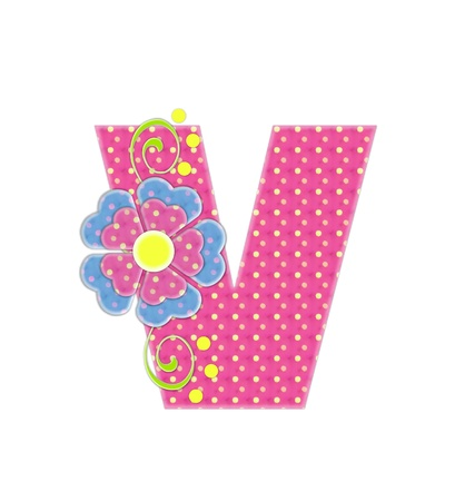 The letter V, in the alphabet set Bonita, is pink with yellow polka dots.  Coordinating, two color, flowers decorate each letter. Stock Photo