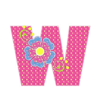 The letter W, in the alphabet set Bonita, is pink with yellow polka dots.  Coordinating, two color, flowers decorate each letter.
