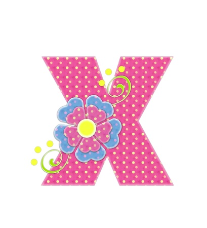 The letter X, in the alphabet set Bonita, is pink with yellow polka dots.  Coordinating, two color, flowers decorate each letter.