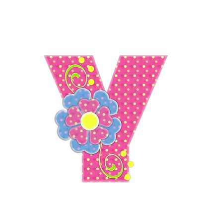 The letter Y, in the alphabet set Bonita, is pink with yellow polka dots.  Coordinating, two color, flowers decorate each letter. Stock Photo