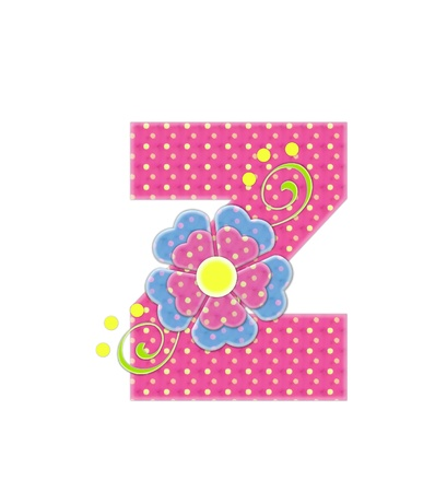 english letters: The letter Z, in the alphabet set Bonita, is pink with yellow polka dots.  Coordinating, two color, flowers decorate each letter.