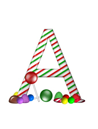 typographiy: The letter A, in the alphabet set Candy Cane Sweets, is striped pepperment in red and green.  Gumdrops, gumballs, peppermint, chocolate and lollipops decorate base of letter.