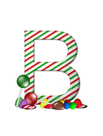 typographiy: The letter B, in the alphabet set Candy Cane Sweets, is striped pepperment in red and green.  Gumdrops, gumballs, peppermint, chocolate and lollipops decorate base of letter.
