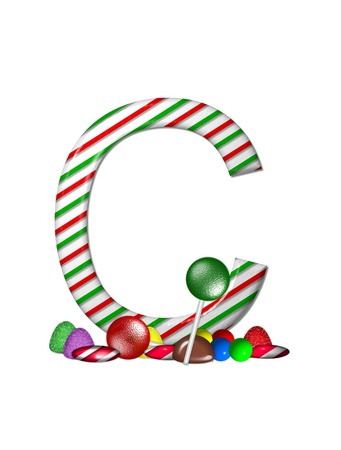 The letter C, in the alphabet set Candy Cane Sweets, is striped pepperment in red and green.  Gumdrops, gumballs, peppermint, chocolate and lollipops decorate base of letter. photo