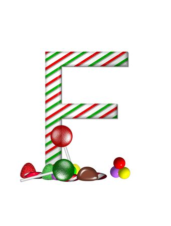 typographiy: The letter F, in the alphabet set Candy Cane Sweets, is striped pepperment in red and green.  Gumdrops, gumballs, peppermint, chocolate and lollipops decorate base of letter.