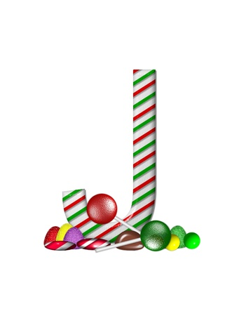 The letter J, in the alphabet set Candy Cane Sweets, is striped pepperment in red and green.  Gumdrops, gumballs, peppermint, chocolate and lollipops decorate base of letter. photo