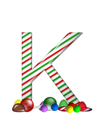 The letter K, in the alphabet set Candy Cane Sweets, is striped pepperment in red and green.  Gumdrops, gumballs, peppermint, chocolate and lollipops decorate base of letter. photo