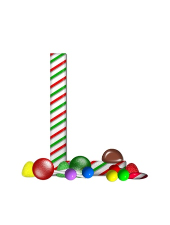 The letter L, in the alphabet set Candy Cane Sweets, is striped pepperment in red and green.  Gumdrops, gumballs, peppermint, chocolate and lollipops decorate base of letter. photo