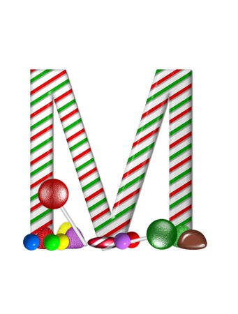 The letter M, in the alphabet set Candy Cane Sweets, is striped pepperment in red and green.  Gumdrops, gumballs, peppermint, chocolate and lollipops decorate base of letter. photo
