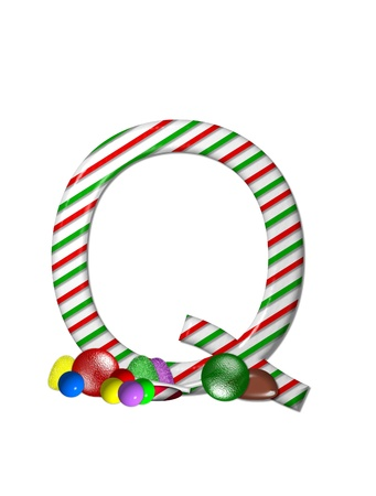 typographiy: The letter Q, in the alphabet set Candy Cane Sweets, is striped pepperment in red and green.  Gumdrops, gumballs, peppermint, chocolate and lollipops decorate base of letter.