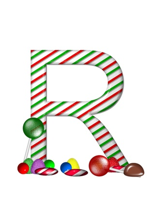 english letters: The letter R, in the alphabet set Candy Cane Sweets, is striped pepperment in red and green.  Gumdrops, gumballs, peppermint, chocolate and lollipops decorate base of letter.