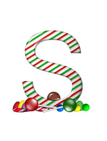 typographiy: The letter S, in the alphabet set Candy Cane Sweets, is striped pepperment in red and green.  Gumdrops, gumballs, peppermint, chocolate and lollipops decorate base of letter. Stock Photo