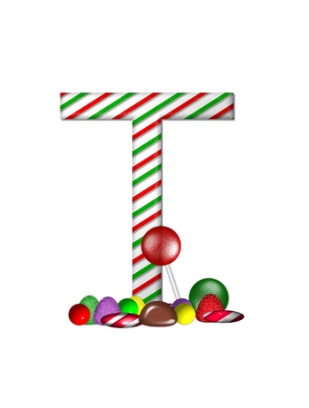 typographiy: The letter T, in the alphabet set Candy Cane Sweets, is striped pepperment in red and green.  Gumdrops, gumballs, peppermint, chocolate and lollipops decorate base of letter.