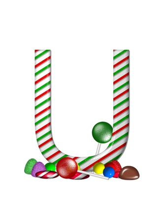 The letter U, in the alphabet set Candy Cane Sweets, is striped pepperment in red and green.  Gumdrops, gumballs, peppermint, chocolate and lollipops decorate base of letter. photo