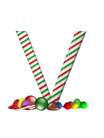 The letter V, in the alphabet set Candy Cane Sweets, is striped pepperment in red and green.  Gumdrops, gumballs, peppermint, chocolate and lollipops decorate base of letter. photo