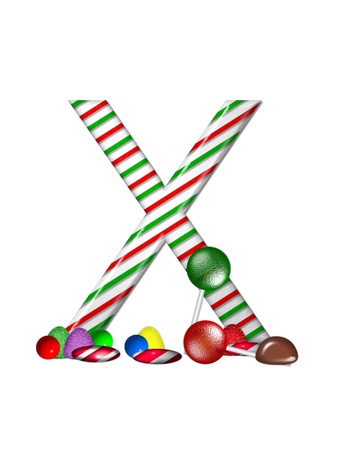 typographiy: The letter X, in the alphabet set Candy Cane Sweets, is striped pepperment in red and green.  Gumdrops, gumballs, peppermint, chocolate and lollipops decorate base of letter.