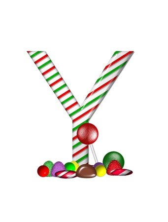 The letter Y, in the alphabet set Candy Cane Sweets, is striped pepperment in red and green.  Gumdrops, gumballs, peppermint, chocolate and lollipops decorate base of letter. photo
