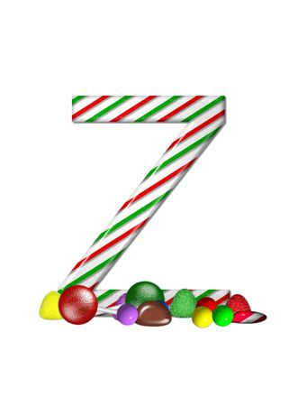 typographiy: The letter Z, in the alphabet set Candy Cane Sweets, is striped pepperment in red and green.  Gumdrops, gumballs, peppermint, chocolate and lollipops decorate base of letter.