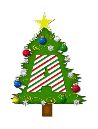 decorating christmas tree: The letter A, in the alphabet set Christmas Joy, is a candy cane striped letter decorating a Christmas tree.  Tree is covered in snowflakes and 3D ornaments.