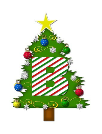 decorating christmas tree: The letter B, in the alphabet set Christmas Joy, is a candy cane striped letter decorating a Christmas tree.  Tree is covered in snowflakes and 3D ornaments. Stock Photo
