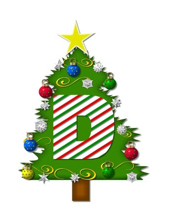 decorating christmas tree: The letter D, in the alphabet set Christmas Joy, is a candy cane striped letter decorating a Christmas tree.  Tree is covered in snowflakes and 3D ornaments.