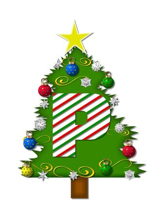 The letter P, in the alphabet set Christmas Joy, is a candy cane striped letter decorating a Christmas tree.  Tree is covered in snowflakes and 3D ornaments. Banco de Imagens