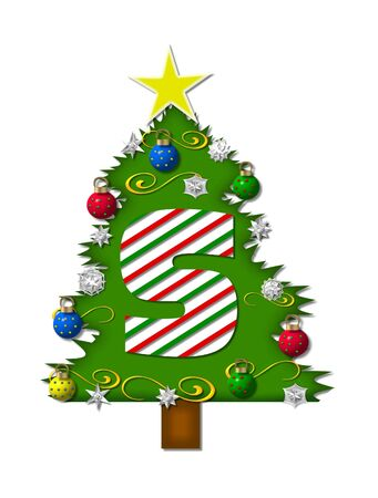 The letter S, in the alphabet set Christmas Joy, is a candy cane striped letter decorating a Christmas tree.  Tree is covered in snowflakes and 3D ornaments. photo