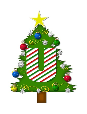 The letter U, in the alphabet set 'Christmas Joy', is a candy cane striped letter decorating a Christmas tree.  Tree is covered in snowflakes and 3D ornaments. photo