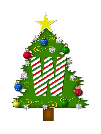 decorating christmas tree: The letter W, in the alphabet set Christmas Joy, is a candy cane striped letter decorating a Christmas tree.  Tree is covered in snowflakes and 3D ornaments.