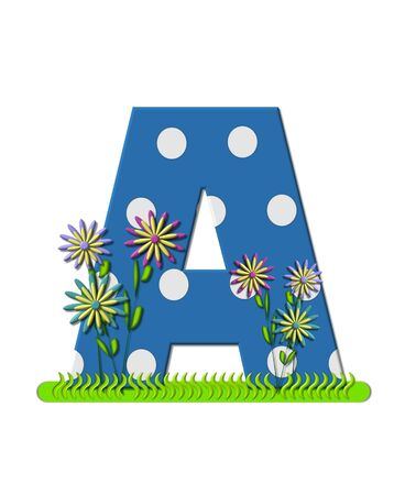 The letter A, in the alphabet set wildflower Meadow, is blue with white polka dots.  Letters base is decorated with wavey grass and 3D flowers. Stok Fotoğraf