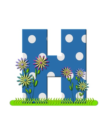 english letters: The letter H, in the alphabet set wildflower Meadow, is blue with white polka dots.  Letters base is decorated with wavey grass and 3D flowers.