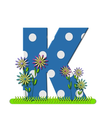 english letters: The letter K, in the alphabet set wildflower Meadow, is blue with white polka dots.  Letters base is decorated with wavey grass and 3D flowers.