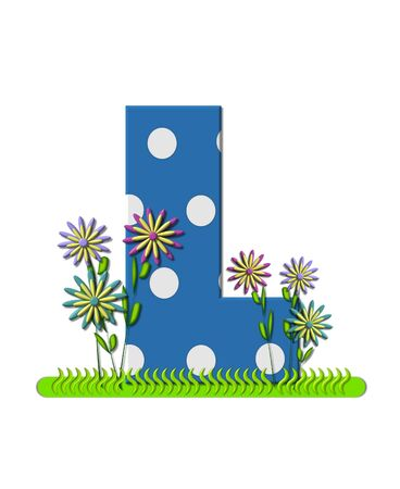 The letter L, in the alphabet set wildflower Meadow, is blue with white polka dots.  Letters base is decorated with wavey grass and 3D flowers. photo
