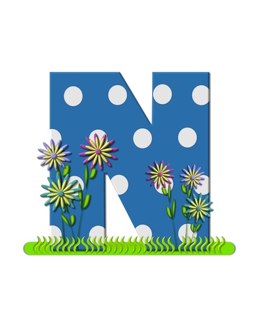 The letter N, in the alphabet set wildflower Meadow, is blue with white polka dots.  Letters base is decorated with wavey grass and 3D flowers.