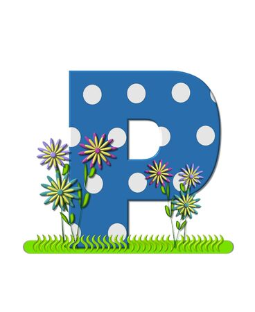The letter P, in the alphabet set wildflower Meadow, is blue with white polka dots.  Letters base is decorated with wavey grass and 3D flowers. Imagens