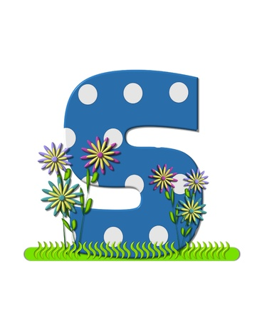 english letters: The letter S, in the alphabet set wildflower Meadow, is blue with white polka dots.  Letters base is decorated with wavey grass and 3D flowers. Stock Photo